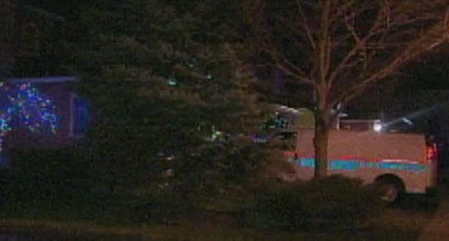 A Durham Regional Police van is shown outside the scene of a violent home invasion in Ajax Thursday night. (CP24)