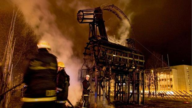 Gavle Sweden Christmas goat torched burned arson