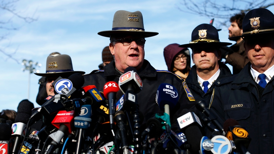 Lt. J. Paul Vance of the Connecticut State Police conducts a news briefing, Saturday, Dec. 15, 2012 in Newtown, Conn. (AP Photo/Jason DeCrow)