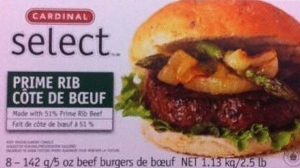 The CFIA has issued a recall for Cardinal Select brand Prime Rib Beef Burgers sold in 1.13 kilogram packages with a best before date of July 31, 2013. (HO photo)