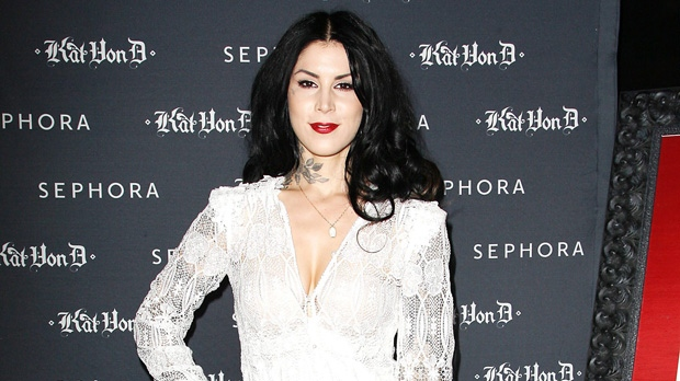"Kat Von D celebrates her first solo art show, ""New American Beauty,"" to benefit the Art of Elysium. The event was held at Sephora Soho in New York on Thursday, May 3, 2012. (AP Photo/Starpix, Kristina Bumphrey)"