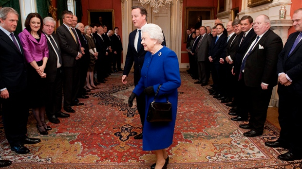 Queen Elizabeth U.K. cabinet meeting Downing St.