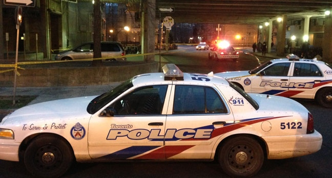 Police cars are shown at the scene of a fatal stabbing on Bleecker Street Thursday, Dec. 20, 2012. (Kyle Surowicz/CP24.com)