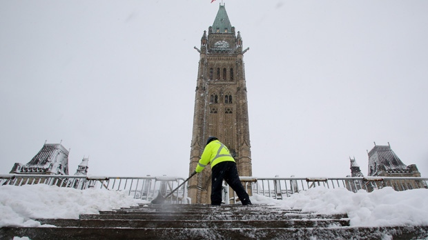 A worker shovels snow on the steps of Parliament Hill in Ottawa on Friday, Dec. 21, 2012. (The Canadian Press/Fred Chartrand)