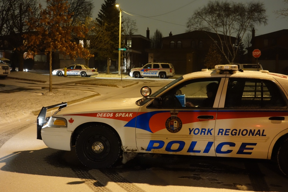Police attend the scene of a home invasion on Jeanne Drive in Vaughan in the early hours Saturday, December 22, 2012. (CP24/ Tom Podolec)