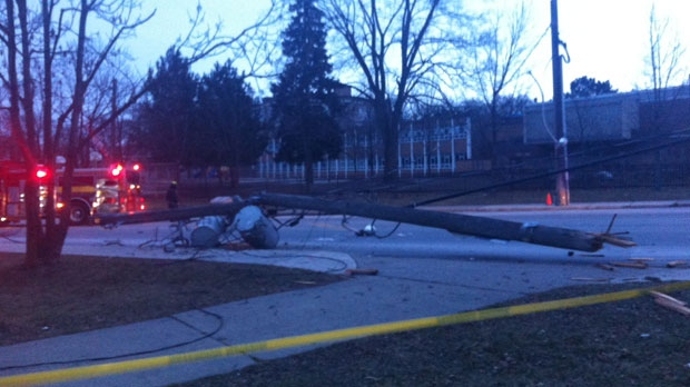 Hydro pole struck