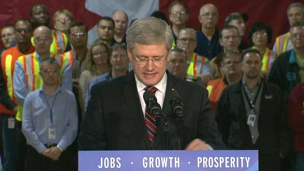 Stephen Harper speaks to the media at the Ford auto plant in Oakville, Ont. on Jan. 4 2013.