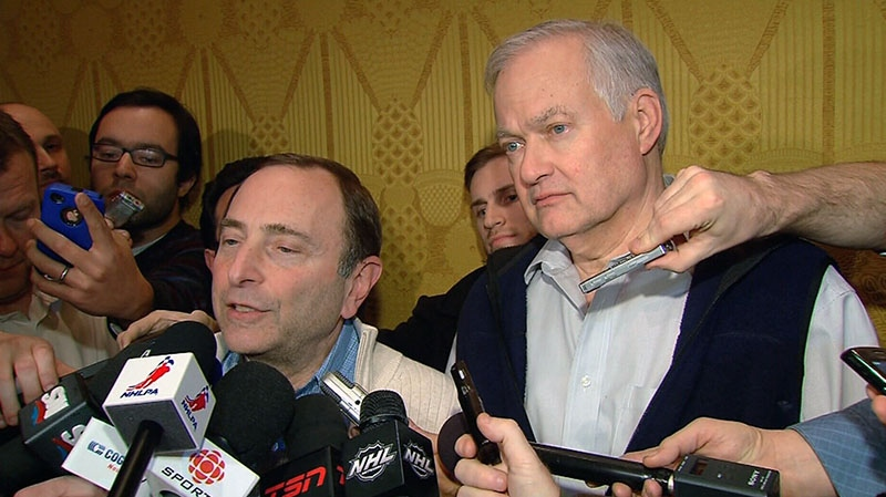 NHL Commissioner Gary Bettman and executive director of the NHL Players' Association Donald Fehr announce to the media that the NHL lockout is over, in New York City, Sunday, Jan. 6, 2013.