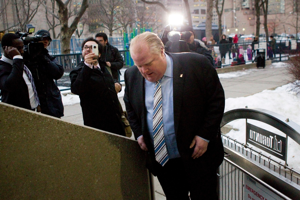 Toronto Mayor Rob Ford makes his way back to City Hall after leaving a courtroom on Monday, January 7, 2013 as he appeals against an earlier decision to remove him from office. (Chris Young/ THE CANADIAN PRESS)