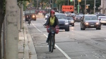 A cyclist is seen biking in Toronto in this file photo.