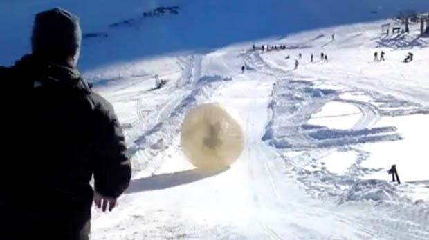 Russia Caucasus Mountains zorb zorbing death