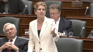 MPP Kathleen Wynne speaks during Question Period in Queen's Park in this file photo.