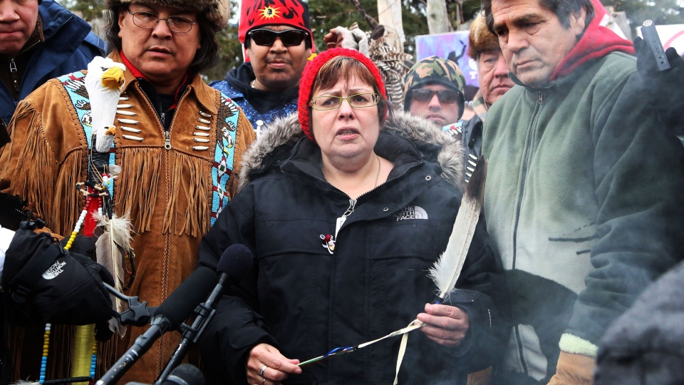 Attawapiskat Chief Theresa Spence makes a brief statement on Victoria Island near Parliament Hill in Ottawa, Friday, Jan. 11, 2013. (Patrick Doyle / THE CANADIAN PRESS)