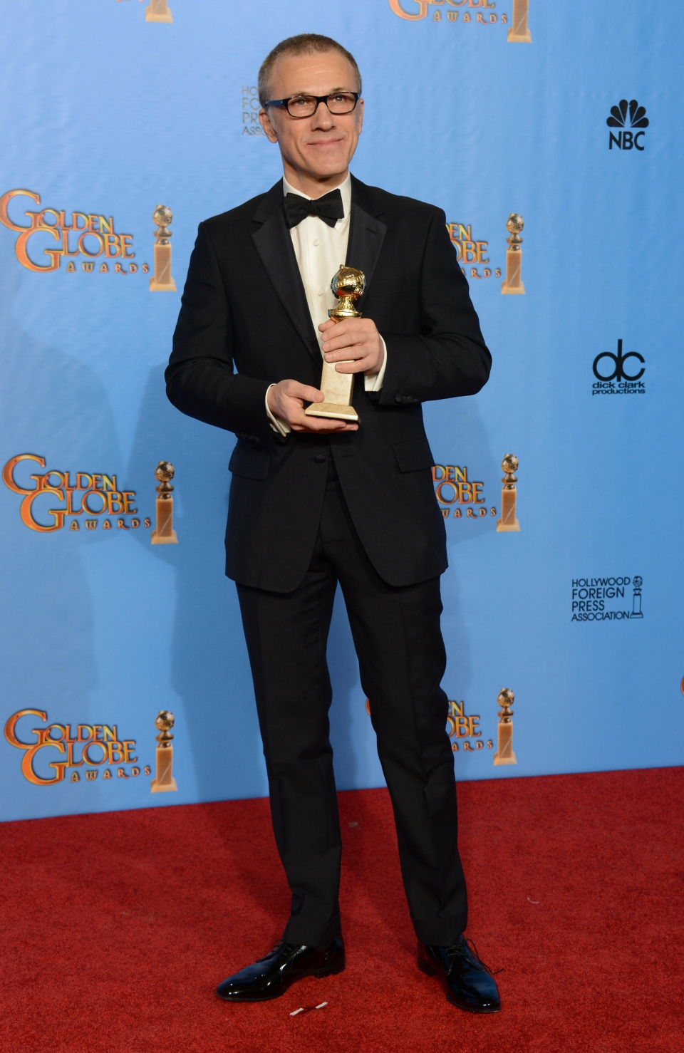 "Christoph Waltz poses with the award for best performance by an actor in a supporting role in a motion picture for ""Django Unchained"" backstage at the 70th Annual Golden Globe Awards at the Beverly Hilton Hotel on Sunday Jan. 13, 2013, in Beverly Hills, Calif. (AP/ Jordan Strauss)"