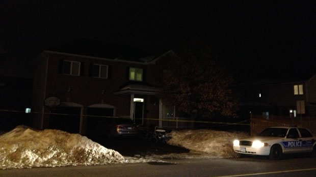 Police are investigating the deaths of three people at a house in the Ottawa suburb of Stittsville on Monday, Jan. 14, 2013. (CTV Ottawa/Claudia Cautillo)