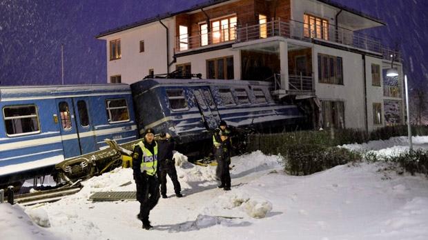 Sweden stolen train crashes into building