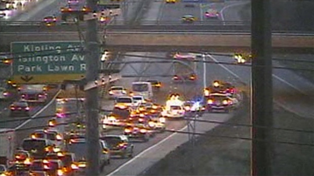 Gardiner Expressway collectors Kipling Ave. crash