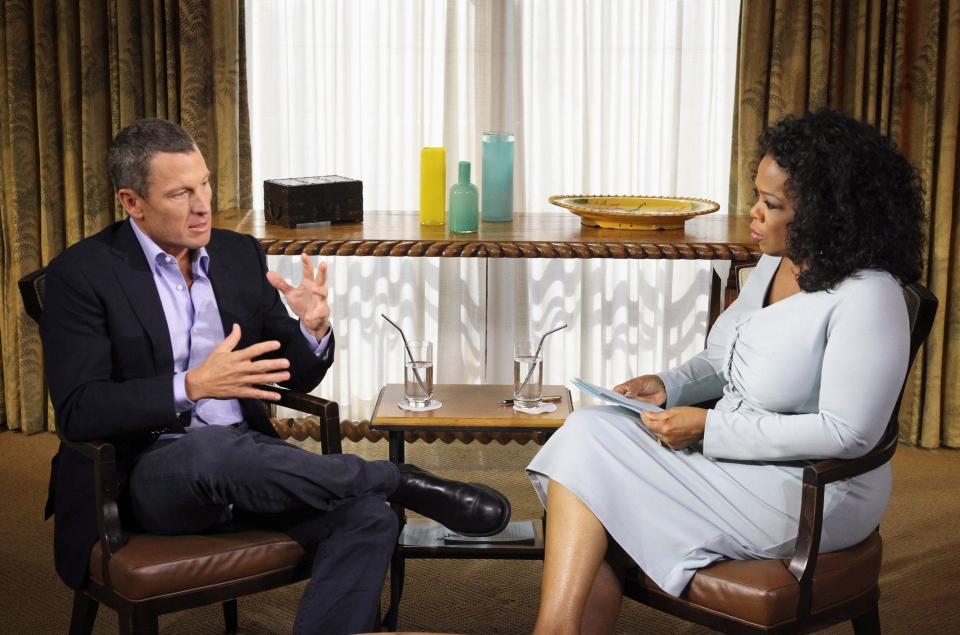 "This photo provided by Harpo Studios Inc., shows talk-show host Oprah Winfrey interviewing cyclist Lance Armstrong during taping for the show ""Oprah and Lance Armstrong: The Worldwide Exclusive"" in Austin, Texas., Monday, Jan. 14, 2013."