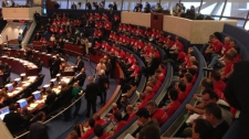 Toronto firefighters protest 2013 budget debate