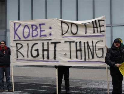 About 30 protesters from Toronto's Armenian community gathered outside the ACC on Sunday, Dec. 19, 2010 to speak out against Kobe Bryant's recent endorsement deal with Turkish Airlines.