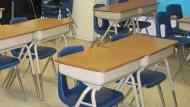 An empty school classroom is pictured. (AP Photo/Dinesh Ramde)