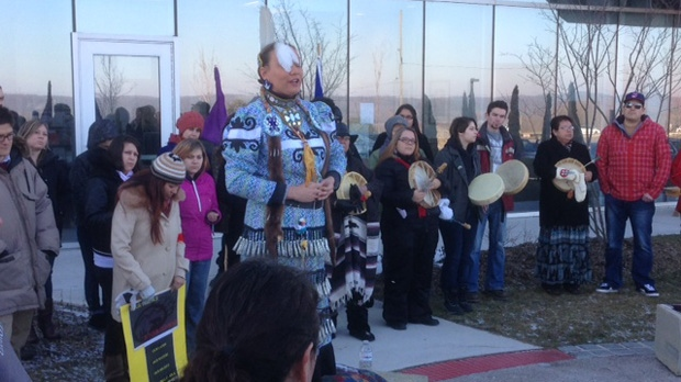 People participate in an Idle No More demonstration at Georgian College in Barrie on Wednesday, Jan. 16, 2013. (Cam Woolley/CP24)