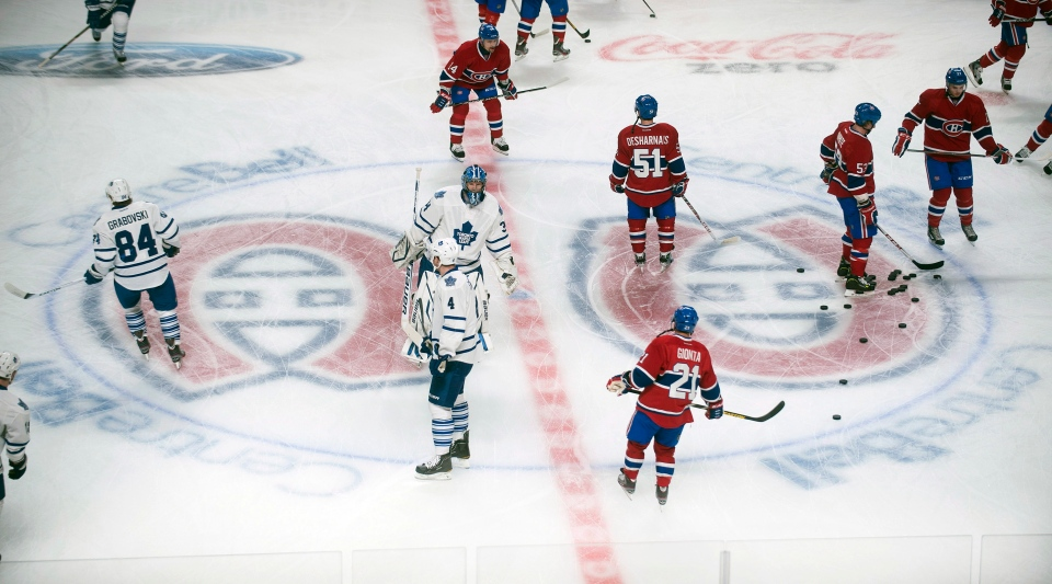 Players from the Montreal Canadiens and Toronto Maple Leafs warm up prior to their season opener at the Bell Centre in Montreal, Saturday, January 19, 2013. THE CANADIAN PRESS/Graham Hughes.