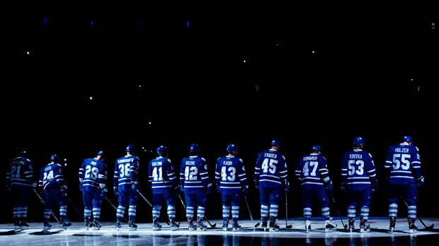 Toronto Maple Leafs introduce their team at their home opener before playing against the Buffalo Sabres during first period NHL hockey action in Toronto on Monday, Jan. 21, 2013. (The Canadian Press/Nathan Denette)