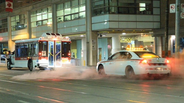 A TTC Wheel-Trans driver fought off a would-be thief during a failed robbery attempt early Tuesday, Jan. 22, 2013. (Tom Stefanac/CP24)