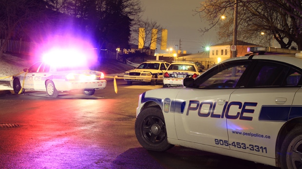 Police investigate a shooting on Ardglen Drive in Brampton early Thursday, Jan. 24, 2013. (Tom Stefanac/CP24)