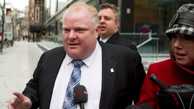 Toronto Mayor Rob Ford leaves his lawyer's office on Friday, Jan. 25, 2013, after learning that he had successfully appealed a decision to remove him from office. (The Canadian Press/Chris Young)