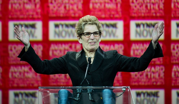 Kathleen Wynne waves to supporters on stage at the Ontario Liberal Leadership convention in Toronto on Saturday, January 26, 2013. THE CANADIAN PRESS/Nathan Denette