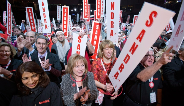 Supporters of Ontario Liberal Party leadership candidate Sandra Pupatello cheer at the convention in Toronto on Saturday January 26, 2013. THE CANADIAN PRESS/Frank Gunn