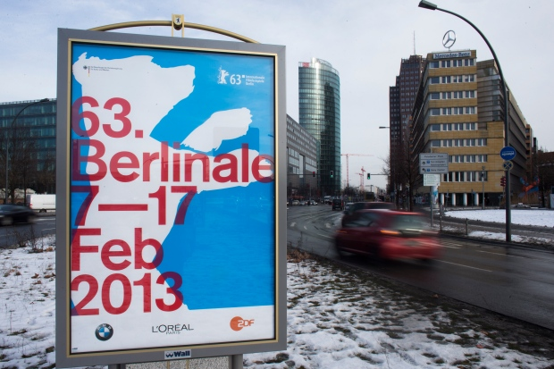 Berlinale poster in Berlin, Jan. 28, 2013.