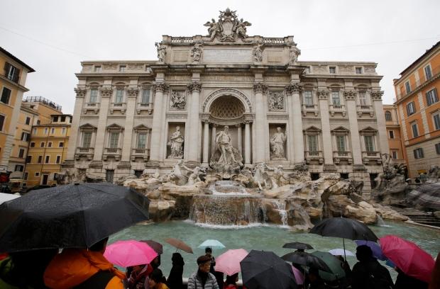 Fendi fashion house restoration of Trevi Fountain