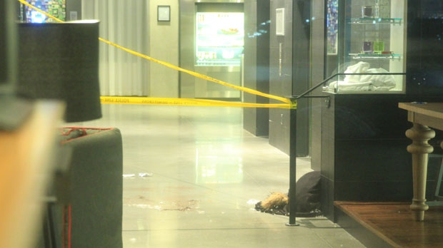 Police investigate a stabbing in Mississauga early Tuesday, Jan. 29, 2013. (Tom Stefanac/CP24)
