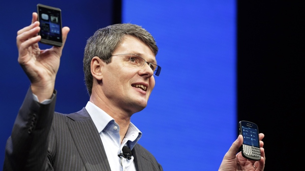 Thorsten Heins, president and CEO of Research in Motion, introduces the BlackBerry 10 smartphones on Wednesday, Jan. 30, 2013 in New York. (AP / Mark Lennihan)