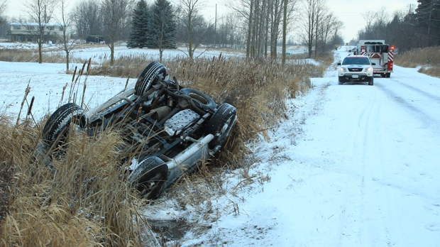 Emergency personnel were called to a rollover near Kirby Road and Pine Valley Drive on Thursday, Jan. 31, 2013. (Tom Stefanac/CP24)
