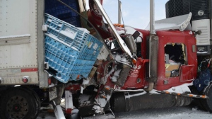 Approximately 30 vehicles were involved in a pileup on Highway 401, near Woodstock, on Friday, Feb. 1, 2013. (Andrew Collins)