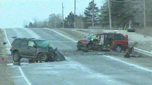Two vehicles involved in a head-on crash on Highway 9 near Schomberg early Sunday morning are shown.