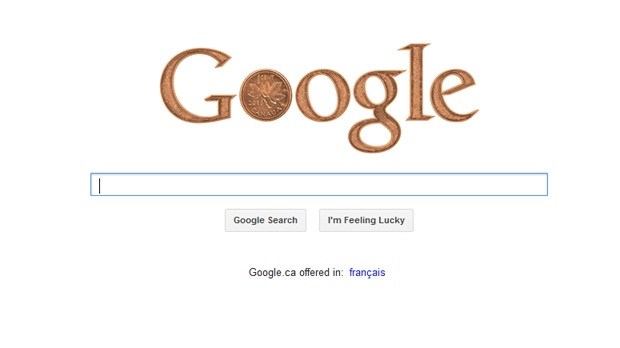 A Google doodle pays tribute to the Canadian penny Monday, Feb. 4, 2013.