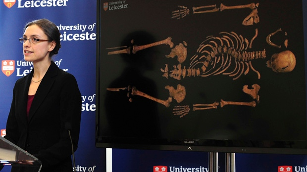 Jo Appleby, a lecturer in human bioarchaeology at University of Leicester's School of Archaeology and Ancient History, speaks at the university on Monday Feb. 4, 2013 about the long lost remains of England's King Richard III. (AP Photo/Rui Vieira, PA)