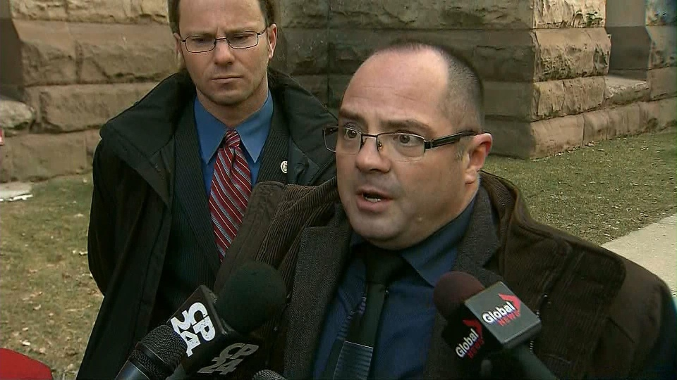 Toronto paramedic Aron Sperling, who was assaulted in the line of duty, speaks to reporters on Wednesday, Feb. 6, 2013.