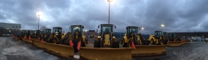 City of Toronto snowplows sit idle at an Eastern Avenue facility ahead of a snow storm Thursday, Feb. 7, 2013. (Mathew Reid/CP24)