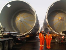 Giant beer vats are seen in Hamilton harbour before they are moved to a Molson Coors brewery in northwest Toronto on Friday, Jan. 7, 2010. (CTV News / Corey Baird)