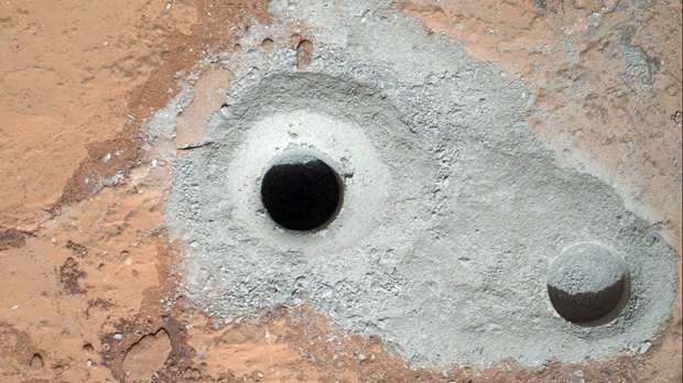 Mars, rock, hole, drill