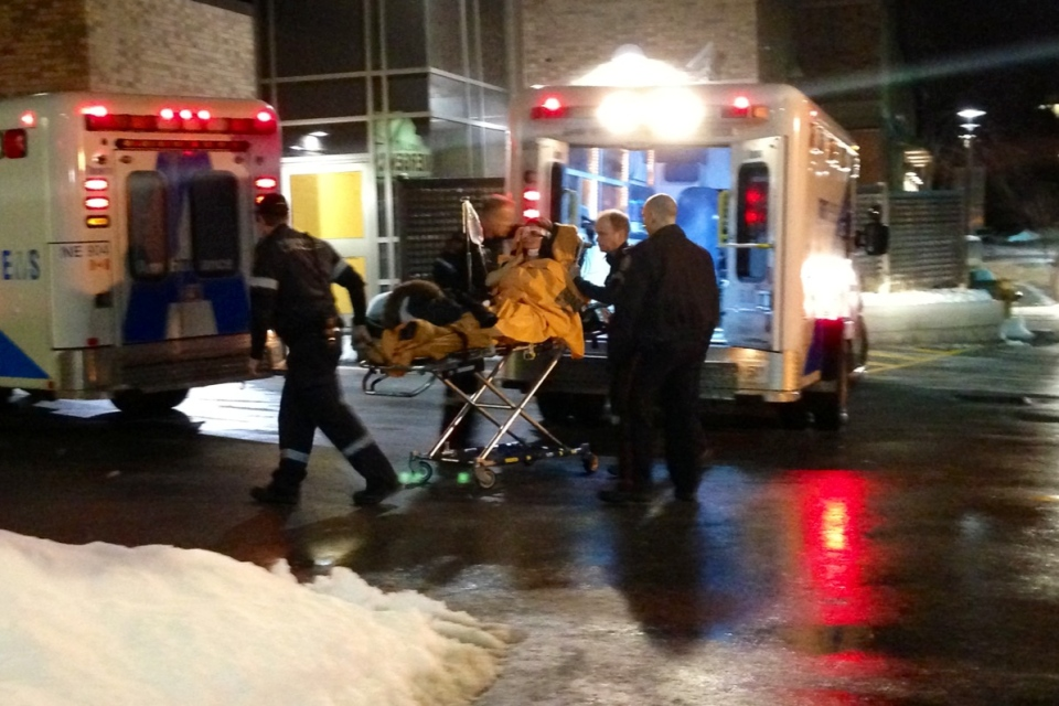 A patient is transported to Sunnybrook Hospital after a man was shot and a woman stabbed in Scarborough Sunday February 10, 2013. (CP24/ Tom Podolec)