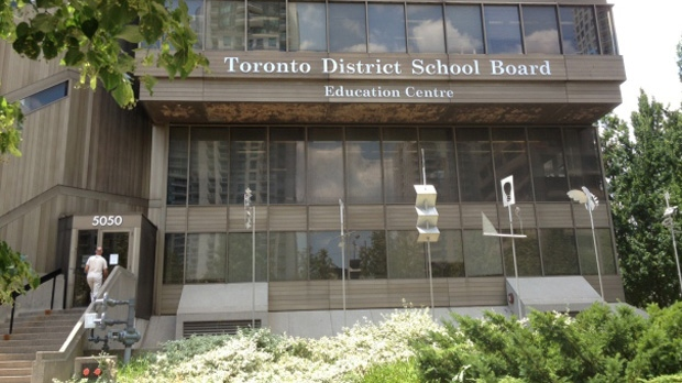 A sign is pictured outside a Toronto District School Board building. (Corey Baird/CTV)
