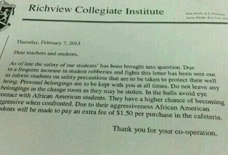 A snapshot of a hoax letter under Richview Collegiate Institute's letterhead is circulating on the Internet. (Twitter)