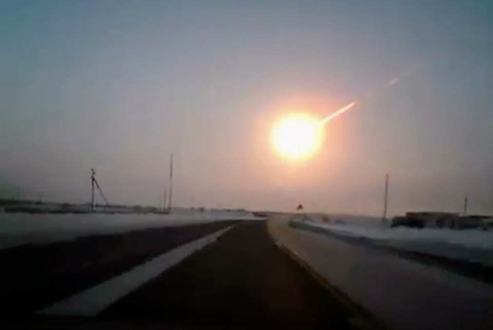 A meteorite contrail is seen in this frame grab made from a video recorded with a dashboard camera on a highway from Kostanai, Kazakhstan, to Russia's Chelyabinsk region Friday, Feb. 15, 2013. (AP Photo/Nasha gazeta, www.ng.kz)